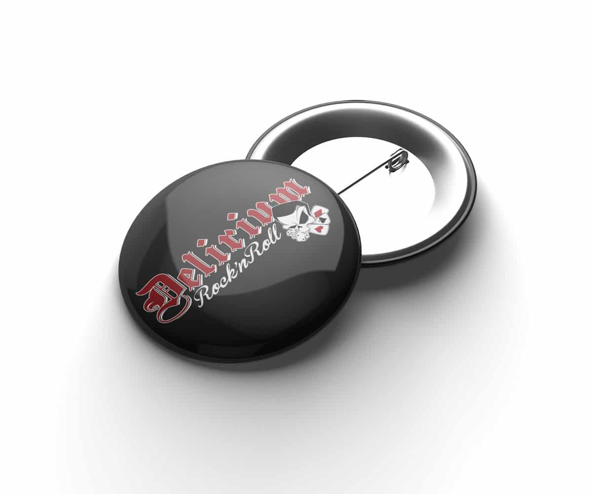 Delirium Rock n Roll Button mit farbigem Logo